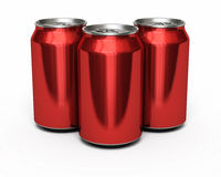 Drink Red Cans. 3d render red drink cans ( and clipping path Stock Images