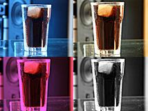 Drink. Rncolorful drinks with ice, cola in glasses with ice, different colors of drinks with ice, four glasses of drink four drinks royalty free stock photography