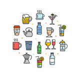 Drink Round Design Template Thin Line Icon. Vector Stock Image