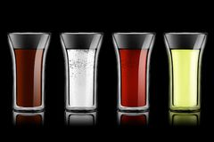 Drink set on black Royalty Free Stock Photography