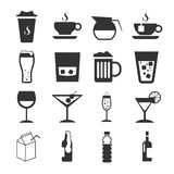 Drink Sign and Symbol Icon Set. Drink  Sign and Symbol Gray Icon Set Royalty Free Stock Photo