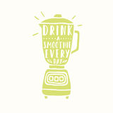 Drink a smoothie everyday. Blender silhouette. Vector hand drawn illustration Royalty Free Stock Image