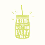 Drink smoothie everyday. Jar silhouette Royalty Free Stock Image
