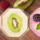Drink smoothies four summer strawberry, blackberry Stock Image