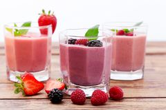 Drink smoothies summer strawberry, blackberry Stock Photos