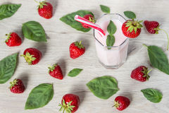 Drink smoothies summer strawberry with mint. Stock Images