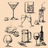 Drink stack. Set vector vintage hand drawn of beverage Royalty Free Stock Photos