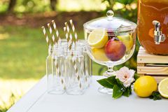 Drink station for an outdoor party Stock Images