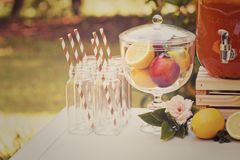 Drink station for an outdoor party Stock Photo