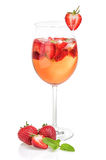 Drink with strawberries and mint Royalty Free Stock Image