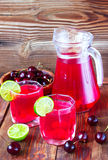 Drink from sweet cherry and a lime Royalty Free Stock Photography