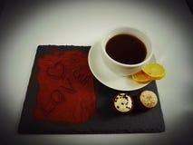 Drink sweet tea lemon muffins cookies. Chocolate love sweet symbol powder Royalty Free Stock Image