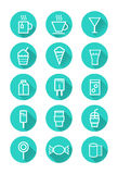 Drink and Sweets icons Stock Images
