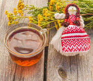 Drink from tansy   of traditional medicine Royalty Free Stock Photos