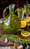 Drink with tarragon, lemon and lime Royalty Free Stock Photo