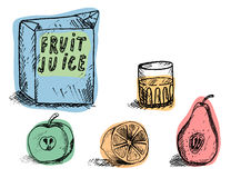 Drink tasty and healthy juice. Box with a glass of juice and lie below the apple , orange and pear Stock Images