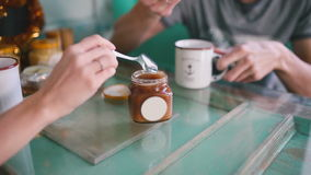 Drink tea with honey. Close-up. Gaining a spoon honey Drink tea Close-up stock video