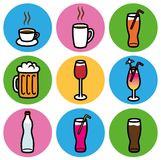 Drink types restaurant bar icons set. Cartoon  design illustration of alcoholic and non alcoholic drink icons badge sticker, for bar or restaurant Stock Photo
