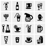Drink vector icons set on gray Royalty Free Stock Photos