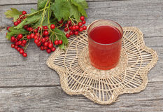 Drink of the viburnum on a wooden background Stock Images