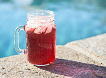 Drink vid pölen Arkivfoto