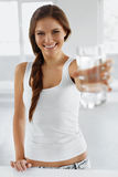 Drink Water. Happy Smiling Woman Drinking Water. Healthy Lifestyle. Health, Diet Concept. stock image