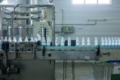 Drink water production line in industry stock photos