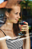 Drink Water. Smiling Woman Drinking Water. Diet. Healthy Lifestyle Stock Image