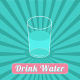 Drink water. Starburst blue background. Infographic. Flat design. Royalty Free Stock Images