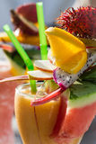 Drink with watermelon and fresh fruits Stock Images