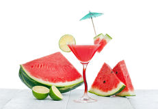 Drink of watermelon juice with lime slice. Stock Photo