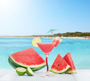 Drink of watermelon juice with lime slice. Stock Image