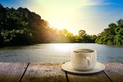 Drink white coffee cup on a wooden table stock illustration