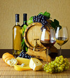 Wine and cheese on the table Royalty Free Stock Photo