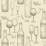 Drink wine seamless doodle pattern. Wine card bar background Stock Photography