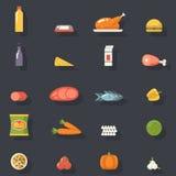 Drinkar för grönsaker för fisk för kött för matsymboler fastställda för Royaltyfria Bilder