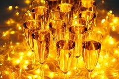 Drinkar för varje berömparti inkluderar alltid champagne Arkivbilder