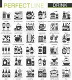 Drinkar och dryckklassikern svärtar mini- begreppssymboler Uppsättning för illustrationer för pictogram för symbol för vektordrin Arkivbild