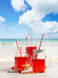Drinkar på stranden Fotografering för Bildbyråer