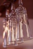 Drinkbekers, Lange wijnglazen Stock Foto