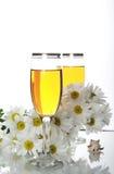 Drinkbekers met wijn en zeeschelpen Royalty-vrije Stock Foto's