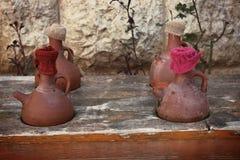 Drinkend Clay Jars, Libanon Stock Foto's