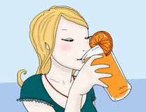drinkend jus d'orange vector illustratie