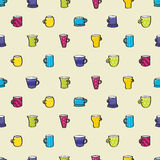 Drinkende Mokken Naadloze Achtergrond Stock Foto