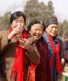 Drinkende thee, glimlachende oude vrouwen Royalty-vrije Stock Foto