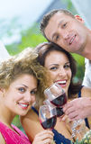 Drinkers. Portrait of young happy attractive people having some wine Royalty Free Stock Image