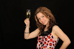 drinkholdingkvinna royaltyfria bilder