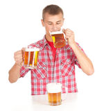 Drinkig man with beer Stock Photo