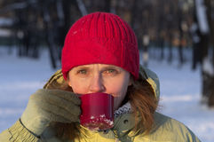 Drinking A Hot Tea Royalty Free Stock Photos