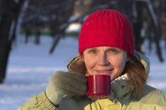 Drinking A Hot Tea Royalty Free Stock Photo